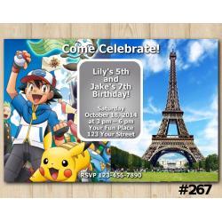 Twin Pokemon and Paris Damask Invitation