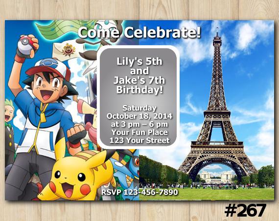 Twin Pokemon and Paris Damask Invitation | Personalized Digital Card