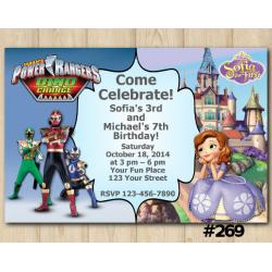 Twin Power Rangers and Sofia the First Invitation
