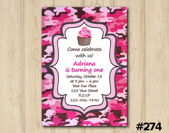Pink Camo Invitation   Personalized Digital Card