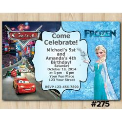 Twin Disney Cars and Frozen Invitation