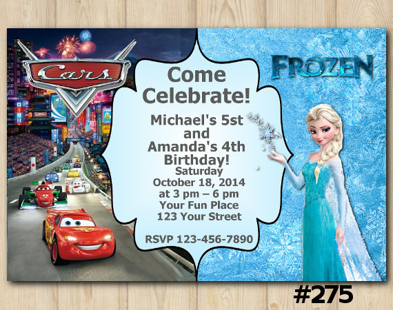 Twin Disney Cars and Frozen Invitation   Personalized Digital Card