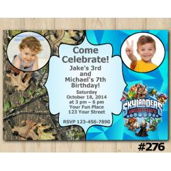 Twin Skylanders and Woodsy Invitation with Photo
