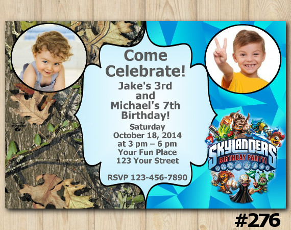 Twin Skylanders and Woodsy Invitation with Photo | Personalized Digital Card