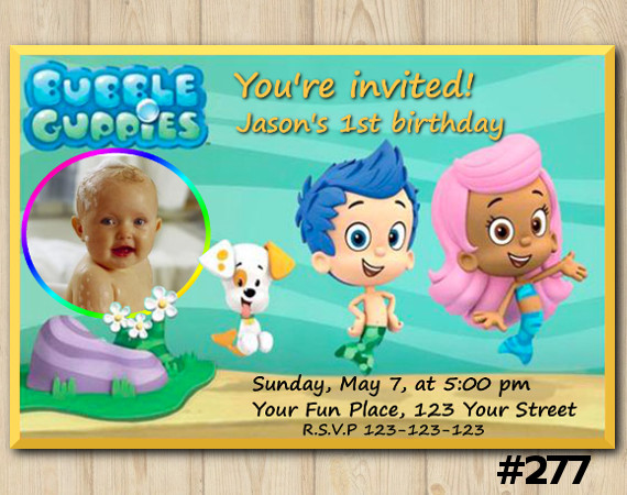 Bubble Guppies Invitation with Photo | Personalized Digital Card