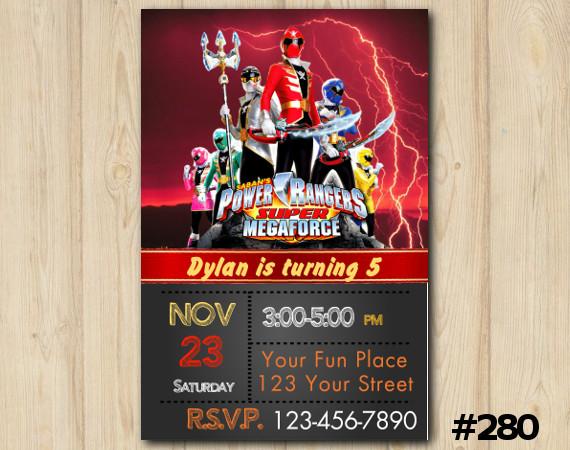 Power Ranger Megaforce Invitation | Personalized Digital Card