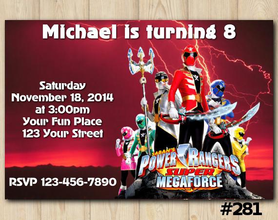 Power Ranger Megaforce Invitation | Personalized Digital Card