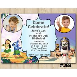 Twin Lilo and Stitch and Peabody and Sherman Invitation with Photo