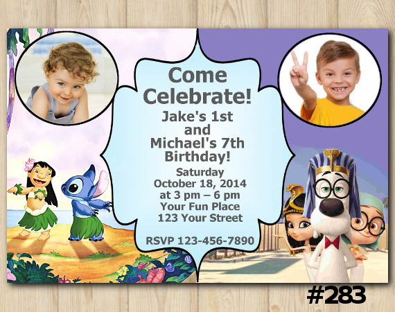 Twin Lilo and Stitch and Peabody and Sherman Invitation with Photo   Personalized Digital Card