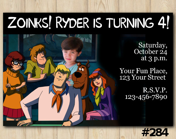 Scooby Doo Invitation with Photo | Personalized Digital Card