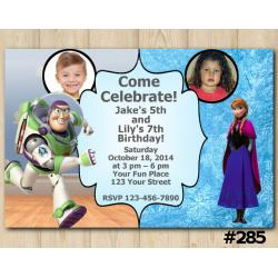 Twin Toy Storry and Frozen Anna Invitation with Photo