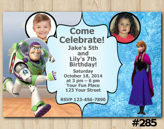 Twin Toy Storry and Frozen Anna Invitation with Photo | Personalized Digital Card