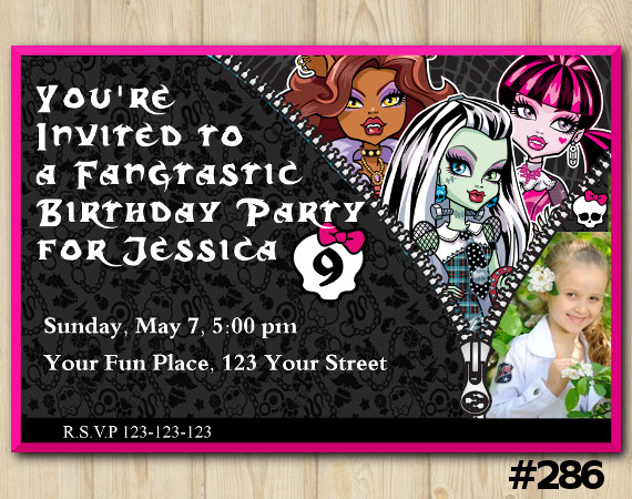 Monster High Invitation with Photo | Personalized Digital Card