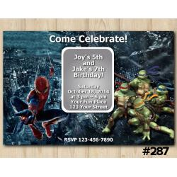 Twin Spiderman and TMNT Invitation