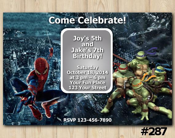 Twin Spiderman and TMNT Invitation | Personalized Digital Card