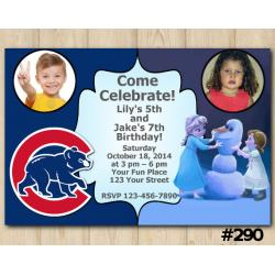 Twin Frozen and Chicago Cubs Invitation with Photo