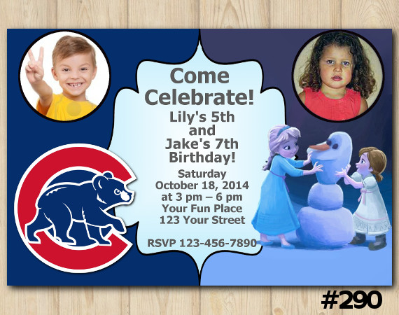 Twin Frozen and Chicago Cubs Invitation with Photo | Personalized Digital Card