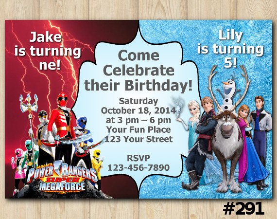 Twin Power Rangers Megaforce and Frozen Invitation | Personalized Digital Card