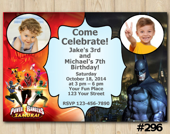 Twin Power Rangers and Batman Invitation with Photo | Personalized Digital Card