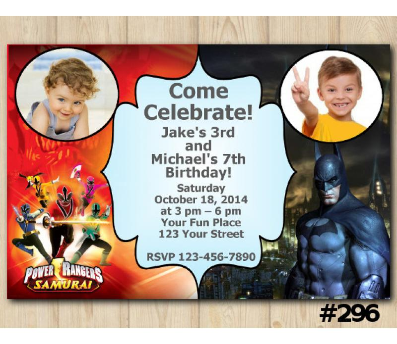 Twin Power Rangers And Batman Invitation With Photo