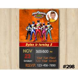 Power Ranger Dino Charge Invitation with Photo
