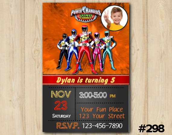 Power Ranger Dino Charge Invitation with Photo | Personalized Digital Card
