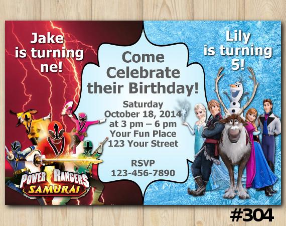 Twin Power Rangers Samurai and Frozen Invitation | Personalized Digital Card