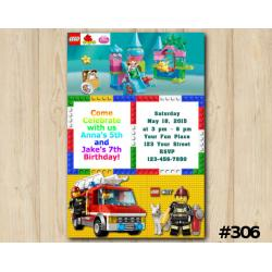 Twin Lego Duplo and Lego City Invitation