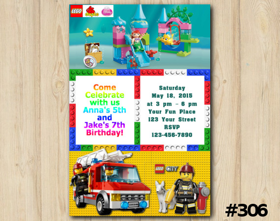 Twin Lego Duplo and Lego City Invitation | Personalized Digital Card