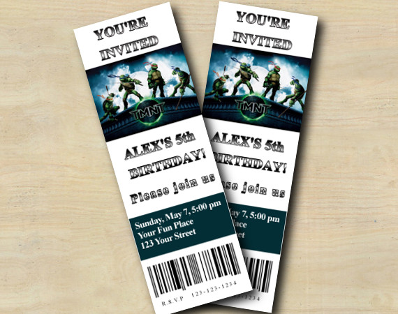 TMNT ticket Invitation | Personalized Digital Card