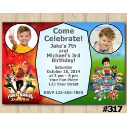 Twin Power Rangers and Paw Patrol Invitation with Photo