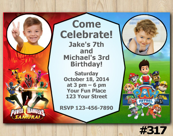 Twin Power Rangers And Paw Patrol Birthday Invitation Joint Twin