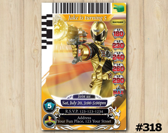 Power Rangers Game Card Invitation | Personalized Digital Card
