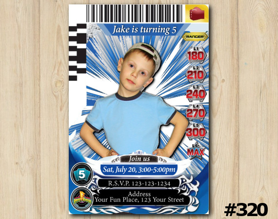 Power Rangers Game Card Invitation with Photo   Personalized Digital Card