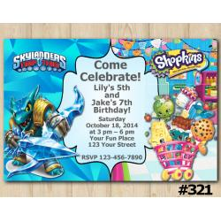Twin Skylanders and Shopkins Invitation | Snapshot