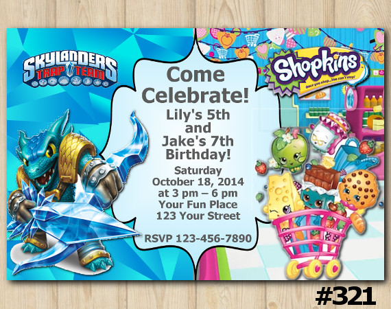 Twin Skylanders And Shopkins Invitation