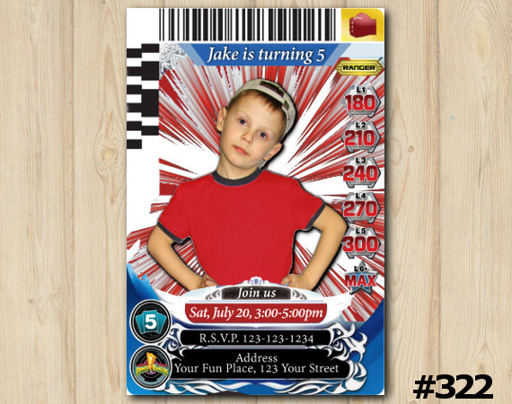Power Rangers Game Card Invitation with Photo | Personalized Digital Card