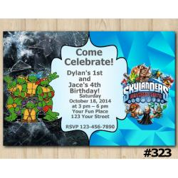 Twin TMNT and Skylanders Invitation