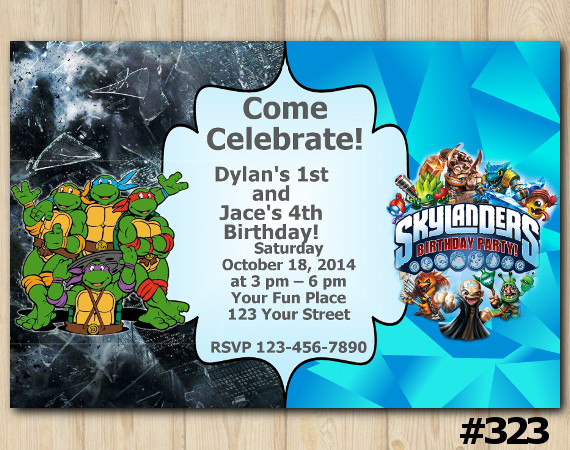 Twin TMNT and Skylanders Invitation | Personalized Digital Card