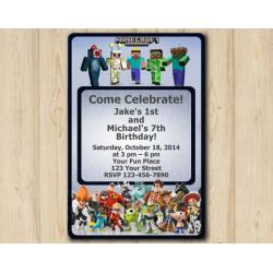 Twin Minecraft and Disney Infinity Invitation