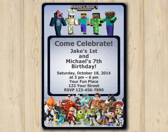 Twin Minecraft and Disney Infinity Invitation | Personalized Digital Card