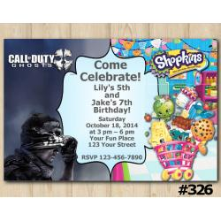 Twin Call of Duty Ghosts and Shopkins Invitation