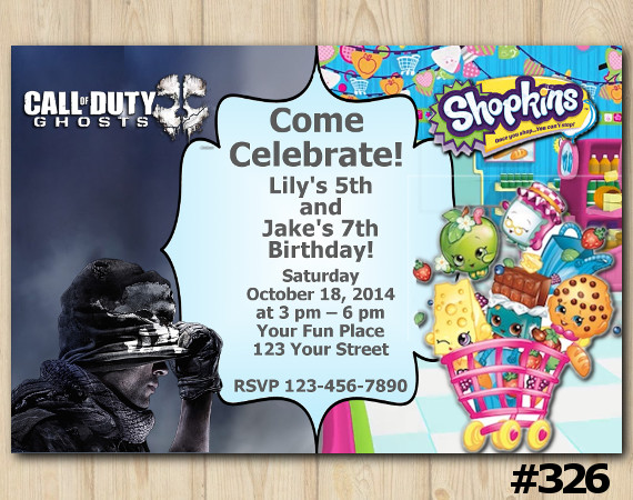 Twin Call of Duty Ghosts and Shopkins Invitation | Personalized Digital Card