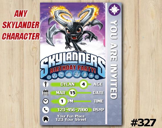 Skylanders Game Card Invitation | DarkSpyro | Personalized Digital Card