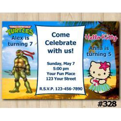Twin TMNT and Hello Kitty Invitation