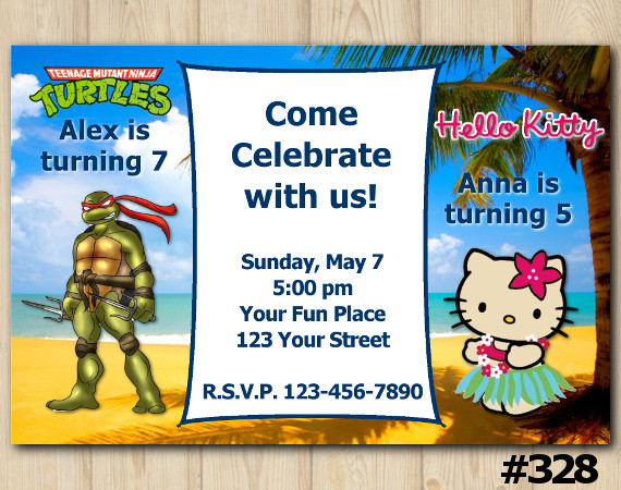 Twin TMNT and Hello Kitty Invitation   Personalized Digital Card