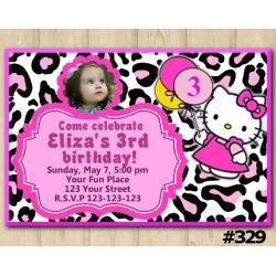 Hello Kitty Leopard Invitation with Photo