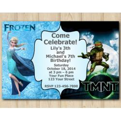 Twin Frozen and TMNT Invitation