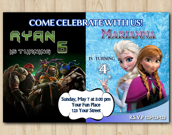 Twin Frozen and TMNT Invitation | Personalized Digital Card