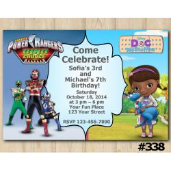 Twin Power Rangers and Doc McStuffins Invitation